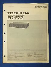 TOSHIBA EQ-333 EQUALIZER SERVICE MANUAL ORIGINAL  * PLEASE READ DESCRIPTION *