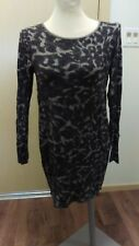 Pieces by Kensie Knit Dress Grey Leopard Print Stretchy Sweater Long Sleeved M