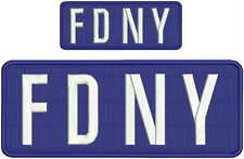 F.D.N.Y. embroidery patch  4x10 and 2x5 hook Navy border white letters No Dots