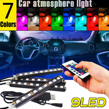 4X RGB 7 Colors Interior Bar Glow Dash Footwell Light 9 LED Strip Lamp USB Port