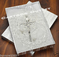 WEDDING LASSOS CYRSTAL SILVER CROSS LAZO DE BODA CRISTAL silver box GLASS Bridal