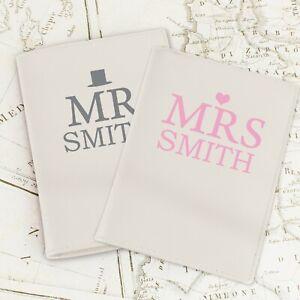 Personalised Cream Leather Passport Holders Set Mr and Mrs Wedding Gift