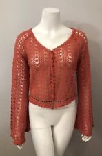NWT Daytrip Dusty Rose Pink Crochet Bell Sleeve Cardigan Sweater Size L