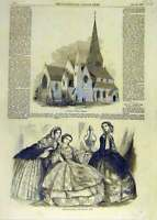 Original Old Antique Print St. Mark'S Church Wrexham Ladies Fashions 1858 19th