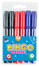 Bingo Markers Dabbers Felt Tip Pens Colour Set Black Red Blue Dot Tickets Game