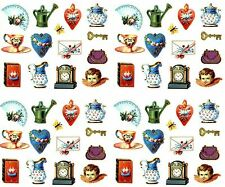 Gifted Line VICTORIAN Charms Heart Vase Tea Cup Scrapbook Stickers 4 Sheets