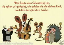 """Geburtstagskarte, Postkarte, Geburtstagslied  """"Der kleine Maulwurf"""""""