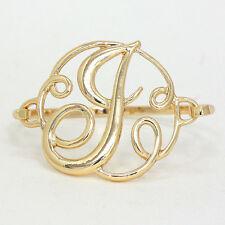 "Monogram Initial Bangle Bracelet GOLD 1.75""Letter J Hinge Bangle Metal Jewelry"