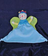 Doudou Marionnette Reine Princesse KATHERINE ROUMANOFF Papillon Bleu Vert TTBE