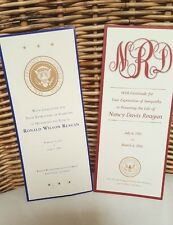 RONALD & NANCY REAGAN 2 Sympathy Thank You Card REPOSE FUNERAL PRESIDENTIAL SEAL