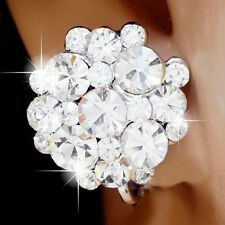 #E488A PAIR Comfy CLIP ON screw back EARRINGS Glitzy Flower Big Clear Crystal