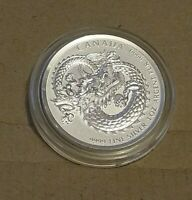 2018 1 oz Canadian Lucky Dragon High Relief Silver 0.9999 Coin limited 200,000!