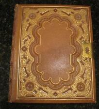 The Comprehensive Bible Tooled Leather w Brass Clasp 1861 Butler Engravings