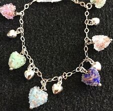Real Silver & Murano Glass Heart Bracelet - NEW RRP £50 Perfect Valentines Gift
