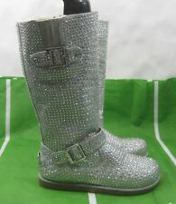 NEW LADIES Silver Rhinestone Winter SEXY Mid-Calf Boot FUR INSIDE  Size  7.5