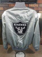 Vintage Oakland Raiders NFL Football Snap Satin Jacket Mens Size Large Silver