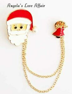 Christmasy Xmas Kristall Emaille Weihnachtsmann Glocke Double Pin Kette Brosche