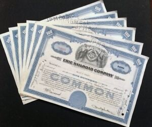 6 ISSUED STOCK CERTIFICATE ERIE RAILROAD CO 100 SHARES NICE VIGNETTE, 1950-54