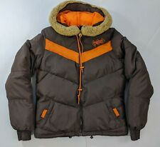 Adidas Original Sports Puffer Jacket Womens Small Brown Orange Retro TriFoil