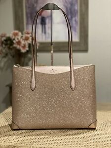 NWT Kate Spade New York Large Glitter Fabric Tote in Rose Gold