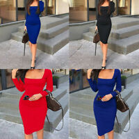 Women Long Sleeve Solid Midi Dress Cocktail Party Bandage Bodycon Short Evening