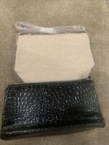 NWOT 2  LANCOME Black Vegan/Crocodile COSMETIC CLUTCH + Beige Makeup Bag ZIP-UP