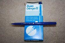 New In Box Pentel Stinger ll Fine Point Metal Tip Blue Ink 12 pens S590P-C
