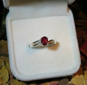 RARE! Genuine Certified natural Unheated Ruby + Sapphire silver ring 6US 🌹