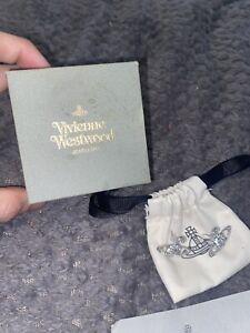 Vivienne Westwood Bas Relief silver tone Crystal Orb Earrings BNWT