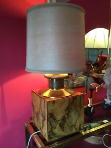 Lampada vintage legno e ottone epoca anni '70 modernariato -design Italia