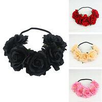 Bridal Boho Flower Headband Garland Festival Wedding Crown Rose Hair Band Pop