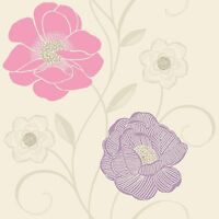 Holden White Pink Wallpaper Rose Floral Flower Lilac Flower Trail 10872 REDUCED!