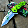 """9"""" Zombie Skull Spring Assisted Open Green Tanto Blade Folding Pocket Knife"""