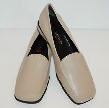 ST JOHN WOMEN'S CLASSIC LEATHER LOAFER  FLATS ITALIAN SHOES BEIGE TAN 8.5 M NEW