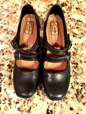 CLARKS ARTISAN Womens Black Leather Square Toe Mary Jane Strap Heels Size 9.5 N