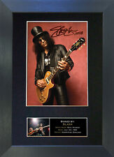 SLASH Guns & Roses Signed Mounted Reproduction Autograph Photo Print A4 95