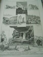 Promenade Archaeological France Pieere Lifting Castle of Eyzies Engraving 1886