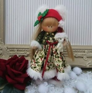 Christmas Rag doll made in the UK Tilda doll Ooak doll HOLLY 6 inch tall