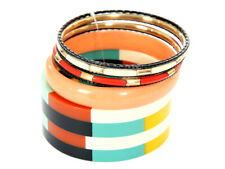 Women's Fashion Colorful Striped Wide & Thin Bangles Bracelet Set Multi