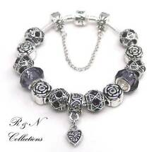 925 Sterling Silver Plated Snake Chain Antique & Crystal Charm Bracelet (SB5-28)