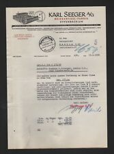 OFFENBACH, Brief 1938, Karl Seeger AG Reiseartikel-Fabrik