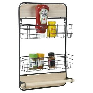 2 Tier Black Metal Wall Mounted Kitchen Spice Rack Organiser with Hanging Roll