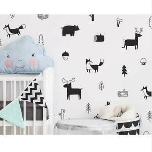New Nordic Style Forest Animal Wall Decals Woodland Art Wall Stickers Decors LA