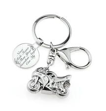Personalised Motorcycle Keyring - Inscribed With A Guardian Angel Message