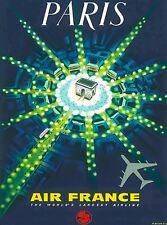 Paris France French Arc de Triomphe Vintage Airline Travel Advertisement Poster