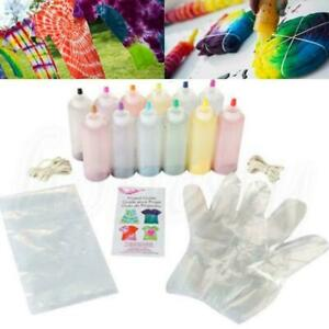 12 Flaschen Dye Paint Set One Step Tie Dye Set Lebendige Textilfarbe W7S6