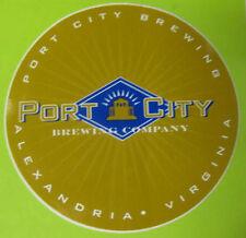 PORT CITY BREWING CO., 4 inch tan Beer STICKER Label, Alexandria, VIRGINIA