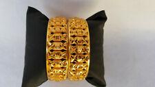 Ethnic 2PC Indian Jewelry Bangles Gold Plated Kada Fashion Bracelets Size 2.8