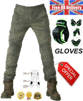 Mens Motorcycle Jeans Motorbike Pants Trousers & Gloves Free CE Armour