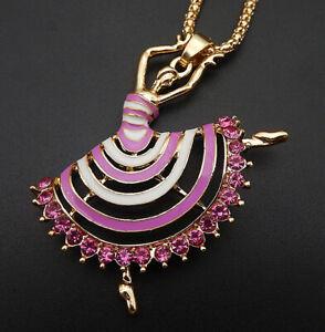 Betsey Johnson Red/Blue/Pink Enamel Crystal Ballet Dancer Girl Pendant Necklace